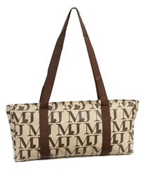 Mah Jongg Beige with Brown MJ Designer Logo (Case Only) mahjong bag, mah jong bag, mah jongg bag, mahjongg bag, mah jongg case