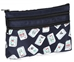 Mah Jongg Navy Blue Multi Color Tiles 3 Zipper Mah Jong Purse for Mahjong Card - 132736
