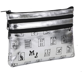 Mah Jongg Silver 3 Zipper Mah Jong Purse for Mahjong Card Mah Jongg Card, Mah Jong Card, Mah Jong Scorecard, Mah Jongg Scorecard, Mah Jong Purse, MJ Purse, Mah Jong Scorecard Purse, Mah Jong Case, MJ Bag, Mah Jongg Accessories, Mah Jong Gift, mahjongg, Designer Mah Jong, Mah Jong Soft Bag, mahjong