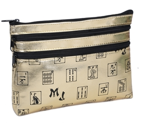 Mah Jongg Gold 3 Zipper Mah Jong Purse for Mahjong Card Mah Jongg Card, Mah Jong Card, Mah Jong Scorecard, Mah Jongg Scorecard, Mah Jong Purse, MJ Purse, Mah Jong Scorecard Purse, Mah Jong Case, MJ Bag, Mah Jongg Accessories, Mah Jong Gift, mahjongg, Designer Mah Jong, Mah Jong Soft Bag, mahjong